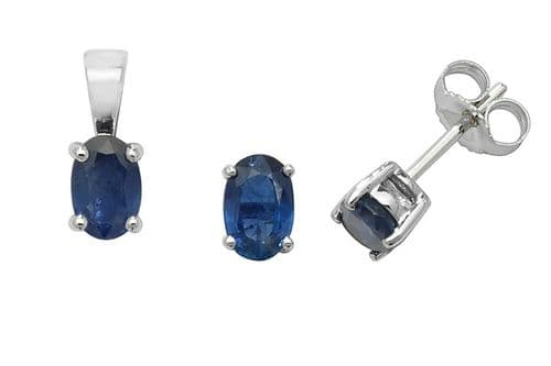 Sapphire Pendant and Earrings Set Oval Solitaire 9ct White Gold Hallmarked